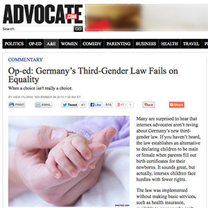 OII-USA's Viloria published in The Advocate regarding issues with Germany's third gender law